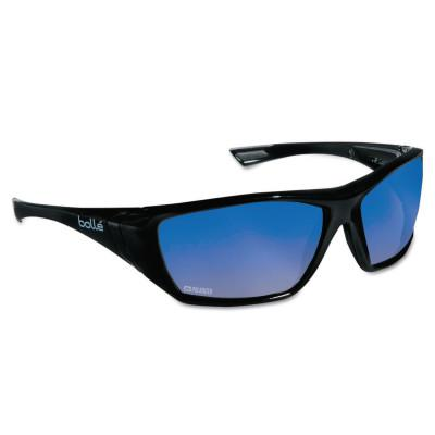 BOLLE SAFETY Hustler Safety Glasses, Blue Mirror Polar Lens, Anti-Fog/Anti-Scratch