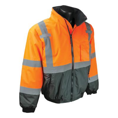RADIANS SJ110B Two-in-One High Visibility Bomber Safety Jackets, 2XL, Polyester, Orange
