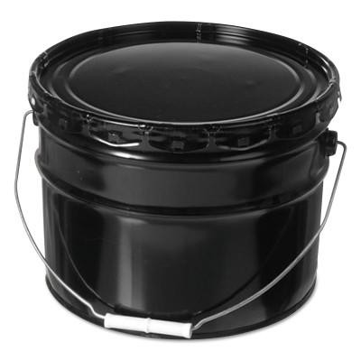 FREUND Unlined Open Head Steel Pail, 3 1/2 Gallon, Lug Cap, Black