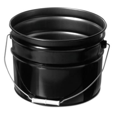 FREUND Unlined Open Head Steel Pail, 3 1/2 Gallon, 10.9 in Cap, Black