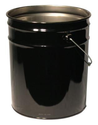 FREUND Unlined Open Head Steel Pail, 5 Gallon, 10.9 in Cap, Black