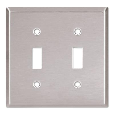COOPER WIRING DEVICES WALLPLATE 2G TOGGLE RECEPTACLE MID SS