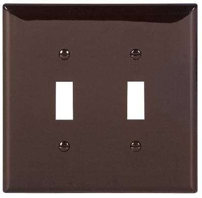 COOPER WIRING DEVICES WALLPLATE 2G TOGGLE POLYMID BR