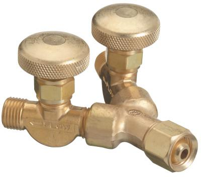 """WESTERN ENTERPRISES Valved """"Y"""" Connections, 200 PSIG, Brass, Female/Male, RH, 9/16 in - 18"""