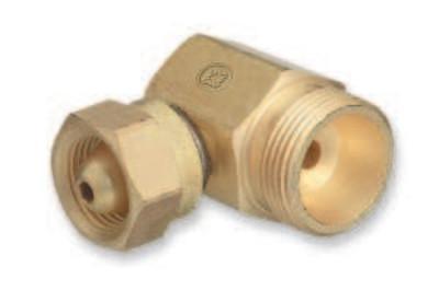 "WESTERN ENTERPRISES Brass Cylinder Adaptors, From CGA-200 ""MC"" Acetylene To CGA-520 ""B"" Tank 90°"