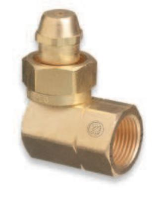 "WESTERN ENTERPRISES Brass Cylinder Adaptors, CGA-520 ""B"" Tank Acetylene To CGA-510 POL Acetylene 90°"
