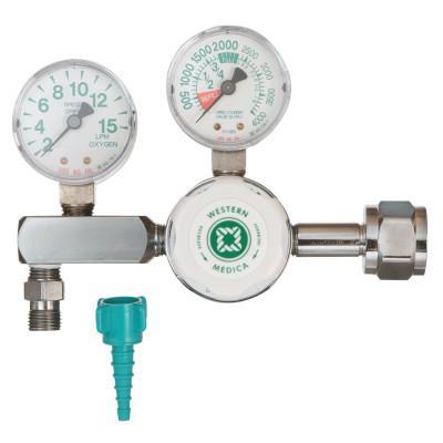 WESTERN ENTERPRISES M1 Series Flow Gauge Regulators, Oxygen, 2-15 LPM, CGA540 Nut/Nipple, 3,000 psi