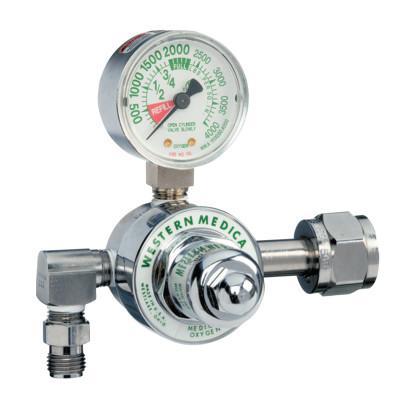 WESTERN ENTERPRISES M1 Series Preset Pressure Gauge Regulators, Oxygen, CGA540 Nut/Nipple, 3,000 psi