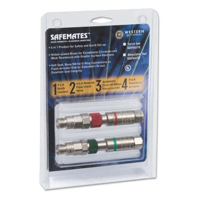 WESTERN ENTERPRISES Safemate Quick Connect Sets w/Flash Arrestors, Torch to Hose, Oxygen/Fuel Gas