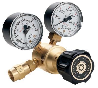 WESTERN ENTERPRISES Flow Gauge Regulators, Carbon Dioxide (CO2), CGA 320, 3,000 psig inlet