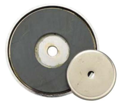 GENERAL TOOLS Shallow Pot Ceramic Magnets, 12 lb, 1 3/8 in Dia.