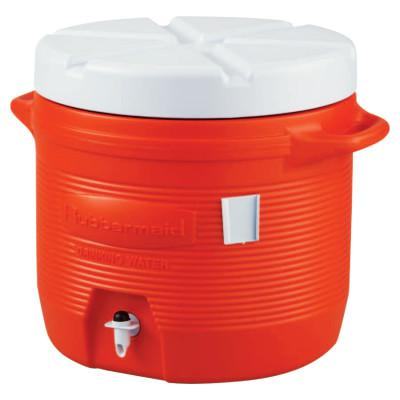 RUBBERMAID COMMERCIAL Plastic Water Coolers, 7 gal, Orange