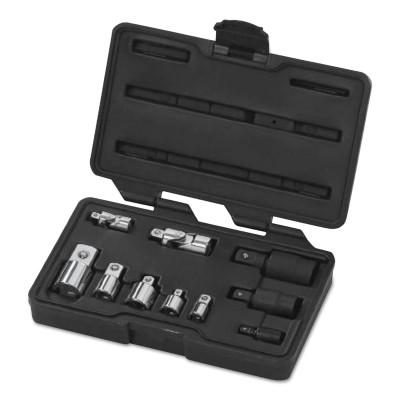 GEARWRENCH 10 Pc Universal Adapter Sets, Full Polish Chrm; Blck Oxd, 1/4 in; 3/8 in; 1/2 in