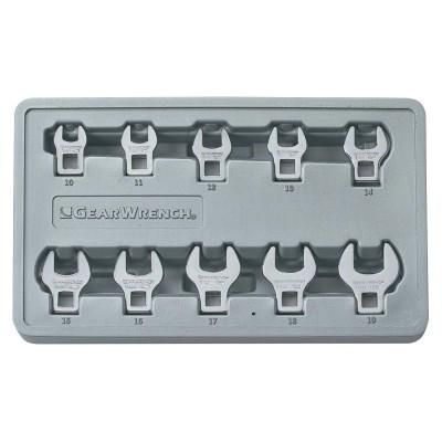 """GEARWRENCH 10 Piece Crowfoot Drive Non-Ratcheting Wrench Set, 3/8 """" Drive, 10 mm - 19 mm"""