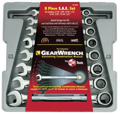 GEARWRENCH 8 Pc. Combination Ratcheting Wrench Sets, Inch