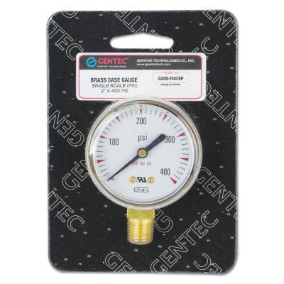 GENTEC 2 in Pressure Gauge, 400 psi (tensile), Brass, 1/4 in NPT(M)