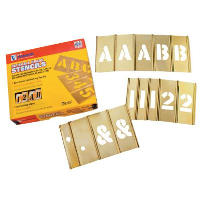 C.H. HANSON Brass Stencil Letter & Number Sets, Brass, 2 in