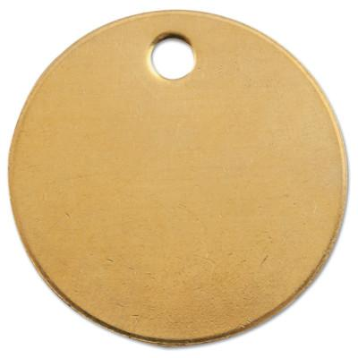 C.H. HANSON Brass Tags, 18 gauge, 1 in Diameter, 3/16 in Hole, Round