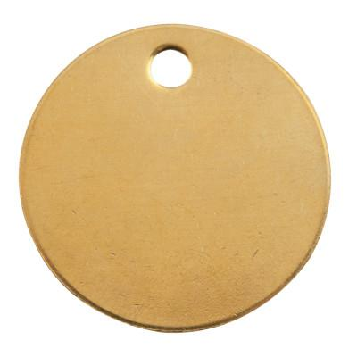 C.H. HANSON Brass Tags, 18 gauge, 1 1/2 in Diameter, 3/16 in Hole, Round