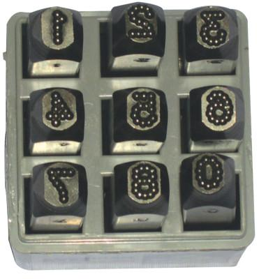 C.H. HANSON Low Stress Dot Design Steel Hand Stamp Sets, 1/4 in, 0 thru 8; A thru Z