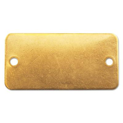 C.H. HANSON Brass Tags, 18 gauge, 3 in x 1 in, 1/8 in Holes, Rounded Rectangle