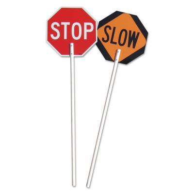 VIZCON Stop/Slow Paddles, 5 ft Plastic Nonreflective Handle