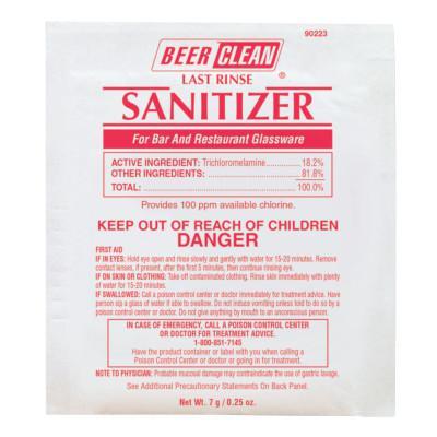 DIVERSEY Beer Clean Last Rinse Glass Sanitizer, Powder, .25oz Packet
