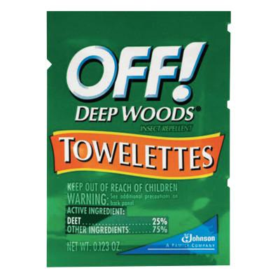 RAID/OFF OFF! Deep Woods Insect Repellent Towellettes, 0.123 oz Packet