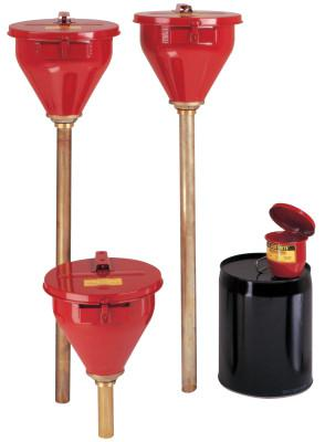 JUSTRITE Large Funnel w/Self-Closing Cover; Safety Drum Funnel w/Brass Flame Arrestor