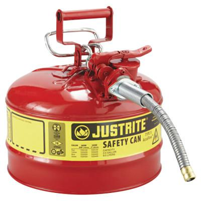 JUSTRITE Type II AccuFlow Safety Cans, Flammables, 2 1/2 gal, Red