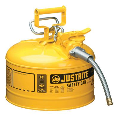 JUSTRITE Type II AccuFlow Safety Cans, Flammables, 2 1/2 gal, Yellow