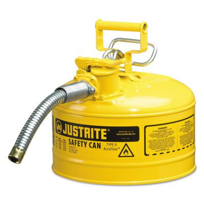 JUSTRITE Type II AccuFlow Safety Cans, Diesel, 2 1/2 gal, Yellow
