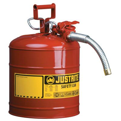 "JUSTRITE Type II AccuFlow Safety Cans, Diesel, 5 gal, Yellow, 5/8"" Hose"