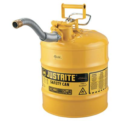 "JUSTRITE Type II AccuFlow Safety Cans, Diesel, 5 gal, Yellow, 1"" Hose"
