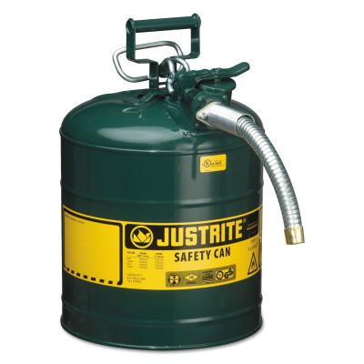 JUSTRITE Type II AccuFlow Safety Cans, Oils, 5 gal, Green