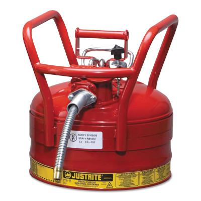 JUSTRITE Type II AccuFlow DOT Safety Cans, Flammables, 2 1/2 gal, Red