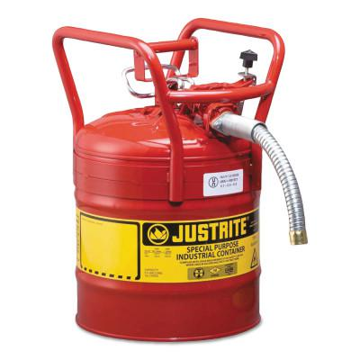 JUSTRITE Type II AccuFlow DOT Safety Cans, Flammables, 5 gal, Red