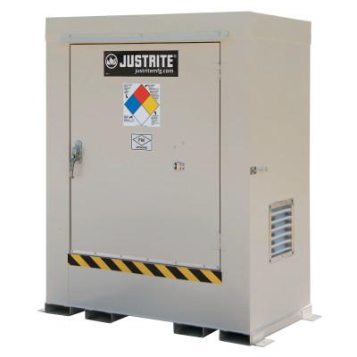 JUSTRITE Non-Combustible Outdoor Safety Locker-Natural Draft Ventilation, (2) 55gal drums