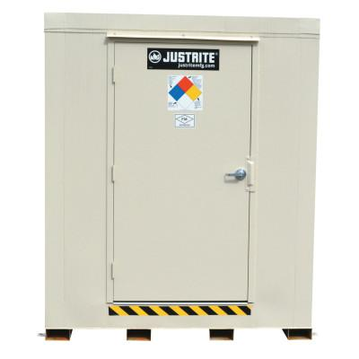 JUSTRITE 4-Hour Fire-Rated Outdoor Safety Locker, Explosion Relief, (4) 55-gallon drums