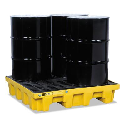 JUSTRITE EcoPolyBlend Spill Control Pallets, Yellow, 73 gal, 49 in x 49 in, W/Drain