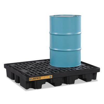 "JUSTRITE EcoPolyBlend Spill Control Low Line Pallets, Black, 2,500 lb, 67 gal, 45"" x 55"""