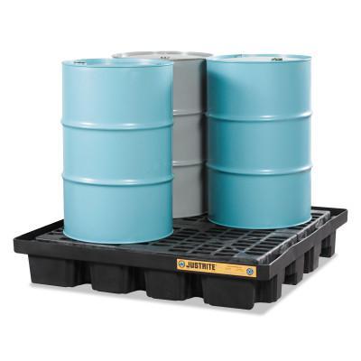 "JUSTRITE EcoPolyBlend Spill Control Low Line Pallets, Black, 5,000 lb, 79 gal, 55"" x 55"""