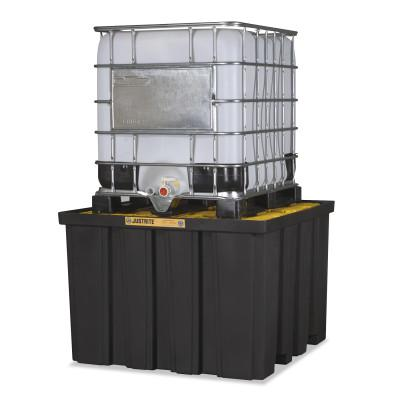 JUSTRITE EcoPolyBlend IBC Pallets, Black/Yellow, 9,000 lb, 372 gal, 55 in x 55 in