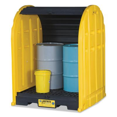JUSTRITE EcoPolyBlend DrumSheds, Yellow, 2,500 lb, 67 gal, 58 1/2 in x 60 3/4 in
