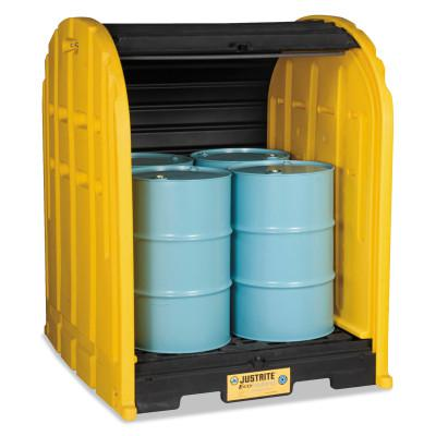 JUSTRITE EcoPolyBlend DrumSheds, Yellow, 5,000 lb, 79 gal, 68 1/2 in x 60 3/4 in