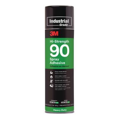 3M INDUSTRIAL Hi-Strength 90 Spray Adhesive, 17.6 oz, Aerosol Can, Clear