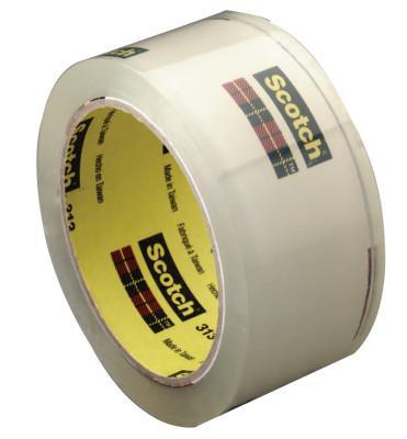 3M™ ABRASIVE Scotch® High Performance Box Sealing Tapes 313, 48mm x 100m, Clear