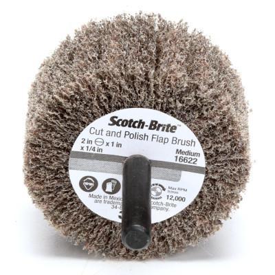 3M ABRASIVE Scotch-Brite™ Cut and Polish Flap Brush, 2 in dia, Med, 12,000 RPM, Alum Oxide