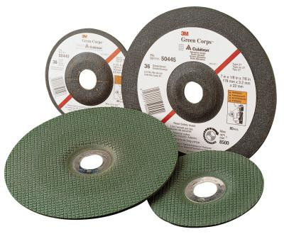 """3M™ ABRASIVE Green Corps Flexible Grinding Wheel, 4 1/2"""" Dia, 7/8 Arbor,  1/8"""" Thick, 36 Grit"""