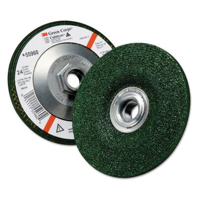 3M™ ABRASIVE Green Corps Depressed Center Wheel, 4 1/2 in Dia, 1/4 Thick, 5/8 Arbor, 24 Grit